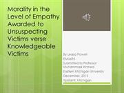 Morality in the Level of Empathy Awarded to Victims