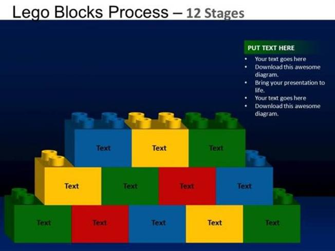 design leadership lego blocks planning process theme powerpoint diagram