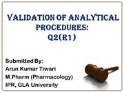 Analytical Validation Q2 R1- by Arun