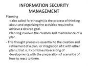 INFORMATION SECURITY MANAGEMENT data