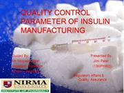 Quality Control Parameters of Insulin Manufacturing