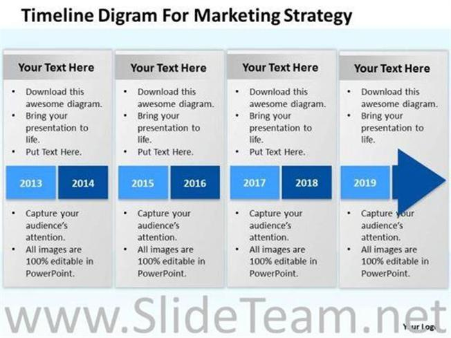 TIMELINE DIGRAM FOR MARKETING STRATEGY POWERPOINT SLIDES PowerPoint Diagram
