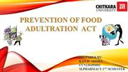 food and drug adulteration act by kanav