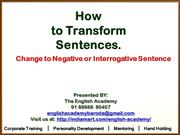How to Transform Sentences