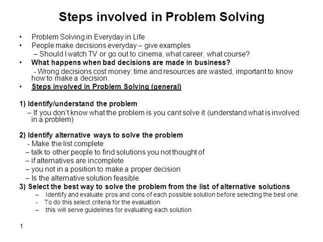 essay problem solving ability A custom essay sample on kids will self-confident and acquire problem solving skills as a result of engaging in activities that result resourcefulness.