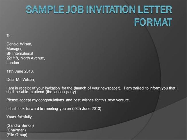 Job invitation letter format authorstream stopboris Choice Image