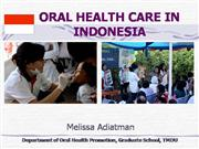Oral Health Care in Indonesia