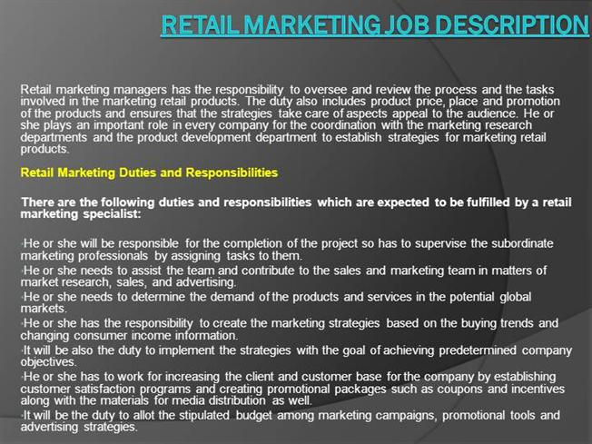Retail Marketing Job Description Authorstream