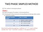 TWO PHASE SIMPLEX METHOD