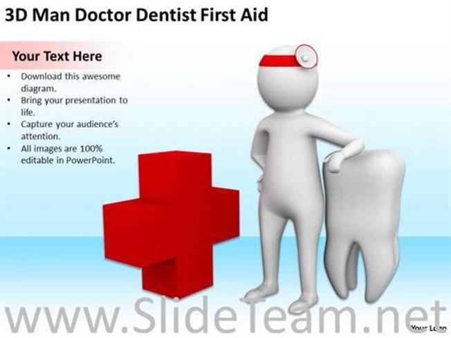 Dentist With First Aid Powerpoint Templates Powerpoint Diagram