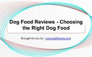 Dog Food Reviews - Choosing the Right Dog Food