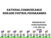NATIONAL COMMUNICABLE DISEASE CONTROL PROGRAMMES