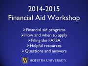 FAFSA Filing Workshop