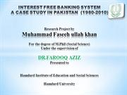 presentation of interest free banking system in pakistan