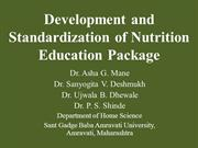 Development and standerdisation of Nutrition Education Package