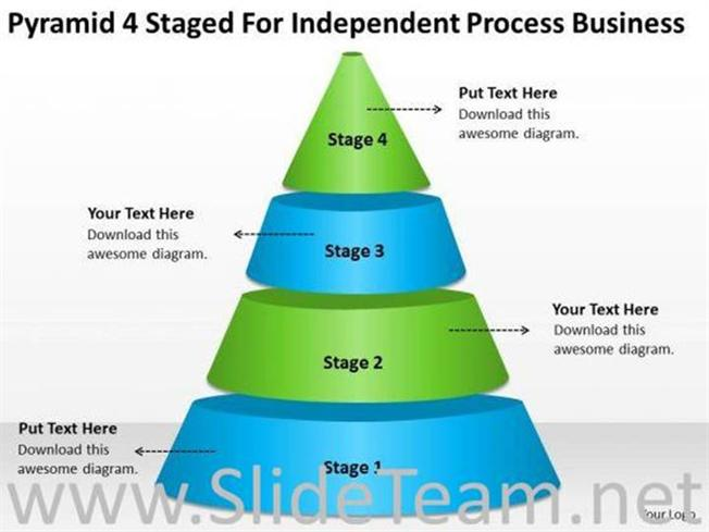 4 stages pyramid process chart ppt slides powerpoint diagram