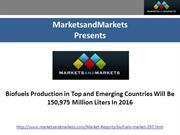 Top & Emerging Biofuels Market by 2016