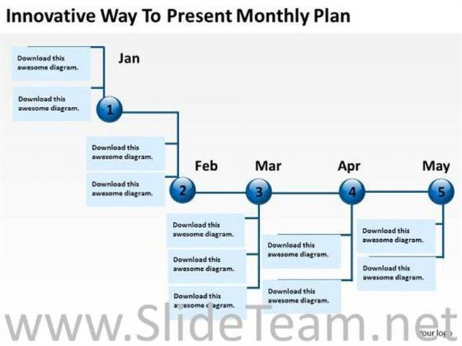 Monthly Plan Business Timeline Powerpoint Slide-Powerpoint Diagram