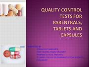 quality control tests for tablets capsules and parenterals