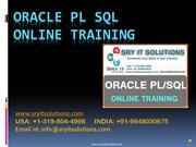 Oracle PL/SQL Training | PL/SQL Online Training | SRY IT