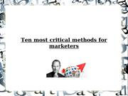 Ten most critical methods for marketers