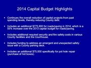 2014 Capital Budget Highlights