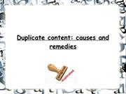 Duplicate content causes and remedies