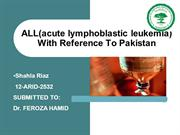 ALL(acute lymophoblastic  leukemia) with reference to PAKISTAN