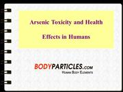 Arsenic Poisoning in Human Body
