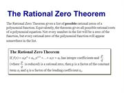 Possible Rational Zeros/Descarte's Rule of Signs