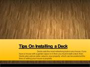 Tips On Installing a Deck