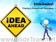 IDEA AHEAD SIGNPOST BUSINESS POWERPOINT BACKGROUND