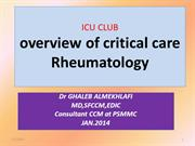 CRITICAL CARE  RHEUMATOLOGY