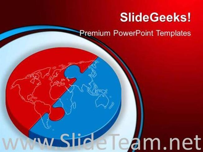 Red And Blue Puzzle Global Powerpoint Background Powerpoint