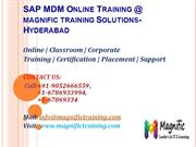 SAP MDM Online Training @ Hyderabad