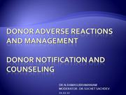 26 DONOR ADVERSE REACTIONS AND MANAGEMENT