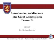 MI 103 Introduction to Missions Lesson 5 audio