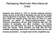 Packaging Machines Manufacturer India