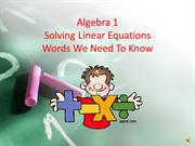 Solving Linear Equations Definitions