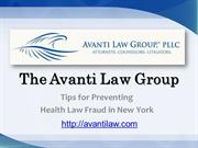The Avanti Law Group Tips for Preventing Health Law Fraud in New York