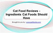 Cat Food Reviews - Ingredients Cat Foods Should Have