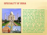 Know About Specialty Of India with Vaibhav India Tourism Services