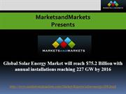 Global Solar Energy Market Forecast by MarketsandMarkets