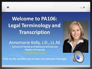 Welcome to PA106-Legal Terminology and Transcription