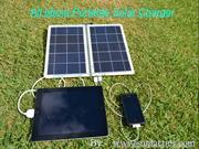 Portable solar charger uses sunlight for charging gadgets