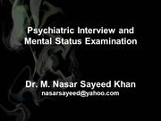 Psychiatric Interview and Mental Status Examination