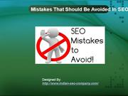 Mistakes That Should Be Avoided In SEO