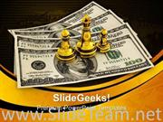 KING QUEEN AND PAWN STANDING ON DOLLARS BUSINESS POWERPOINT BACKGROUND