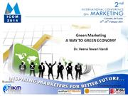 Green Marketing: Way to Green Economy -Dr. Veena Tewari
