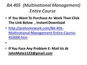 BA 405  (Multinational Management) Entire Course